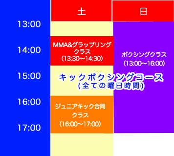 札幌市中央区のキックボクシング タイムスケジュール